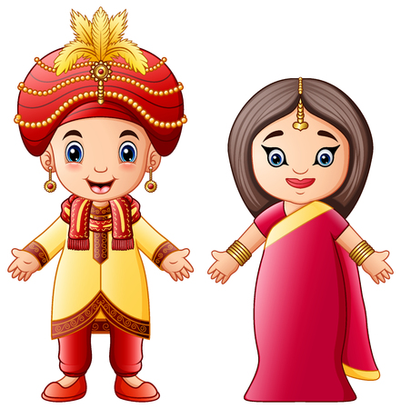 Illustration for Vector illustration of Cartoon indian couple wearing traditional costumes - Royalty Free Image