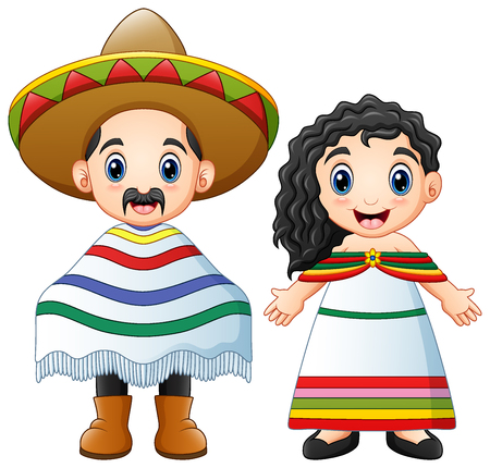 Illustration for Vector illustration of Cartoon Mexicans couple wearing traditional costumes - Royalty Free Image