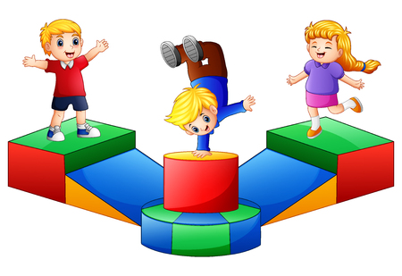 Illustration for Vector illustration of Happy kids playing in the playground. - Royalty Free Image