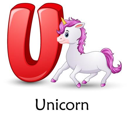 Illustration for Letter U with Unicorn cartoon - Royalty Free Image