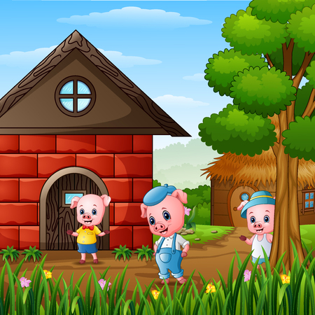 Illustrazione per Three little pigs are playing outside house - Immagini Royalty Free