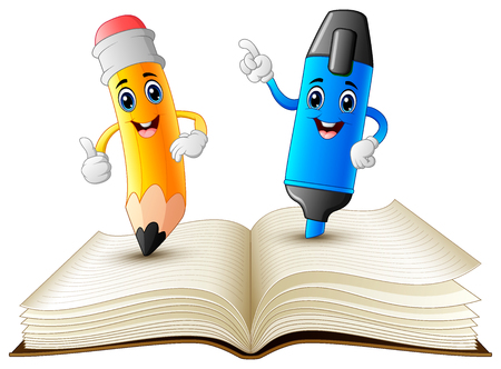 Illustrazione per Vector illustration of pencil and highlighter cartoon standing on book - Immagini Royalty Free