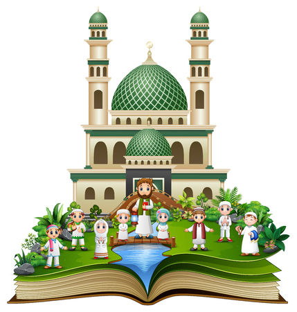 Illustration pour Open book with Happy Muslim Family in front of a mosque - image libre de droit