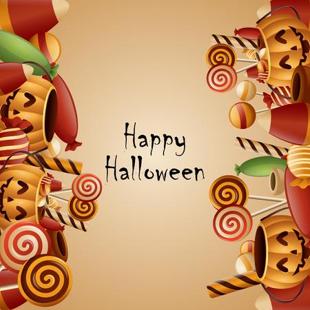 Illustration pour Happy halloween card pumpkins - image libre de droit