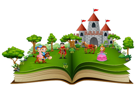 Illustration for Story book with cartoon princesses and princes in front of a castle - Royalty Free Image