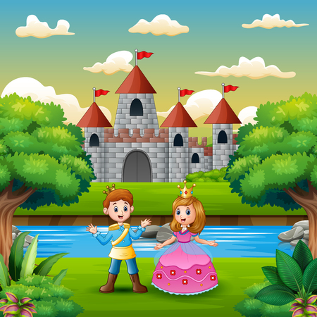 Illustration for Scene with prince and princess on the edge of the river - Royalty Free Image