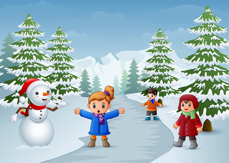 Illustration pour Happy kids playing with a snowman in winter - image libre de droit