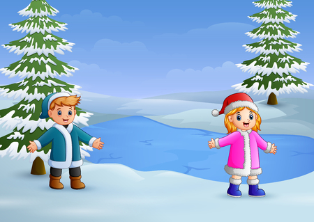 Illustration pour Happy kids playing in the winter landscape with frozen lake and fir trees - image libre de droit