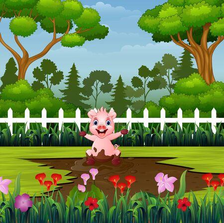 Ilustración de Little pigs playing a mud puddle in the park - Imagen libre de derechos
