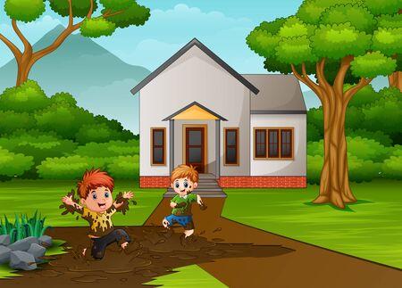 Ilustración de Little kids playing a mud in front the house - Imagen libre de derechos