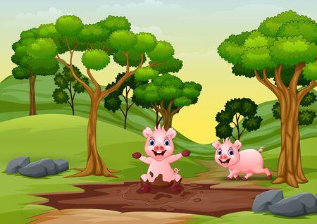 Ilustración de Happy smiling pigs are playing in the mud - Imagen libre de derechos