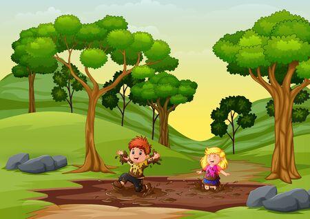 Ilustración de Happy kids playing a mud puddle in the nature - Imagen libre de derechos