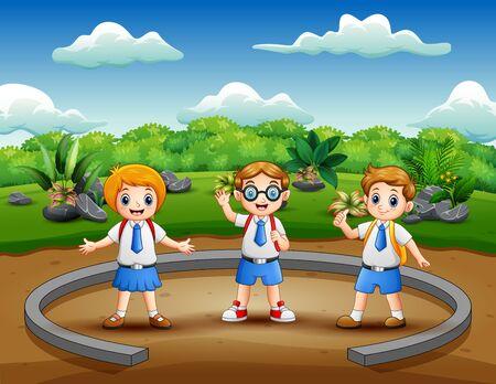 Ilustración de Cartoon school children on the nature park - Imagen libre de derechos