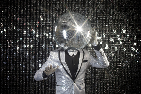Photo for mr discoball. a super cool disco club character against sparkling background - Royalty Free Image