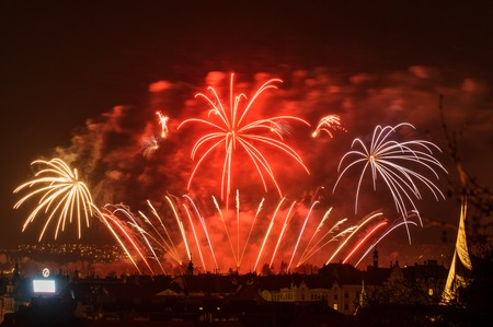 Photo for Fireworks. Big sparkles above night city. - Royalty Free Image