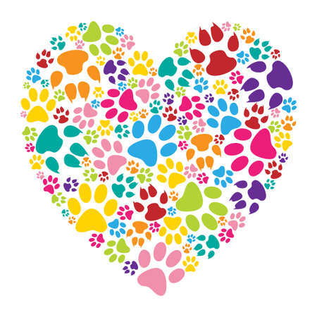 Illustration for Heart paw print - Royalty Free Image