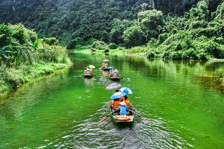 Photo for Trang An rowboat with beautiful view, Ninh Binh, Vietnam - Royalty Free Image