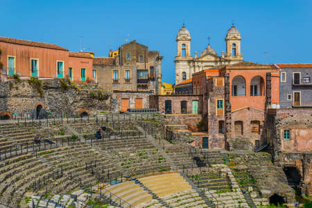 Photo for View of the ancient roman theatre in Catania, Sicily, Italy  - Royalty Free Image