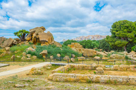Photo for View of ruins of the temple of Zeus in the Valley of temples near Agrigento in Sicily, Italy  - Royalty Free Image