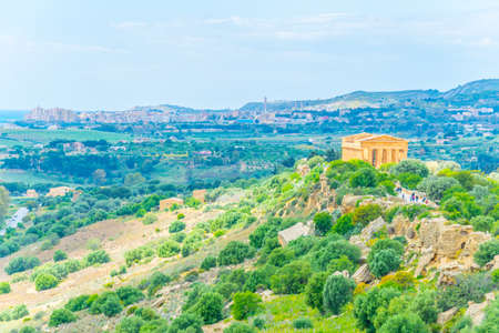 Photo for View of the Concordia temple in the Valley of temples near Agrigento in Sicily, Italy  - Royalty Free Image