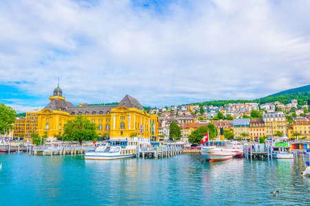 Photo for NEUCHATEL, SWITZERLAND, JULY 16, 2017: Museum of Art and History behind the port at Neuchatel, Switzerland - Royalty Free Image