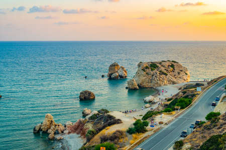 Photo for Sunset view over Petra tou Romiou alas Aphordite's rock on Cyprus - Royalty Free Image