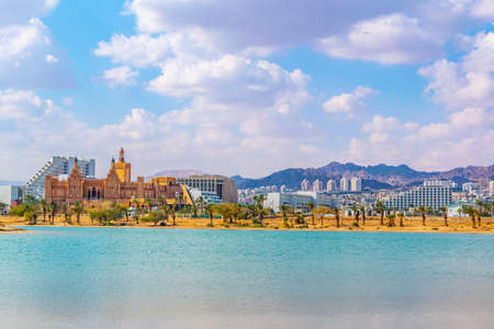 Photo for Cityscape of Eilat viewed behind the peace lagoon, Israel - Royalty Free Image