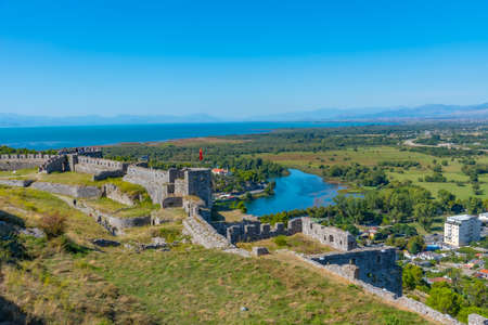 Photo for Lake Skadar viewed behind ramparts of Rozafa castle in Albania - Royalty Free Image