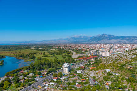 Photo for Aerial view of Shkoder from Rozafa castle in Albania - Royalty Free Image