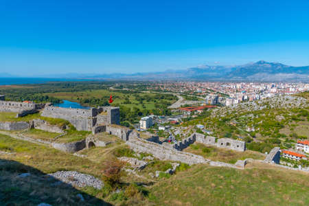 Photo for City of Shkoder and ramparts of Rozafa castle in Albania - Royalty Free Image