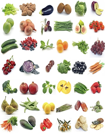 Mural of fruits and vegetables surrounded by white background