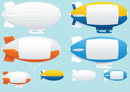 Illustration pour Illustrations of various blimps with blank space down the side for your own message. - image libre de droit
