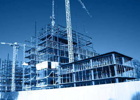 Foto per General view of construction site with big cranes - Immagine Royalty Free