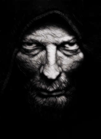 Photo pour Scary evil wrinkled man over black - image libre de droit