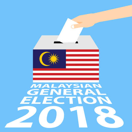Illustration pour Malaysian General Elections 2018 Vector Illustration Flat Style - Hand Putting Voting Paper in the Ballot Box. - image libre de droit