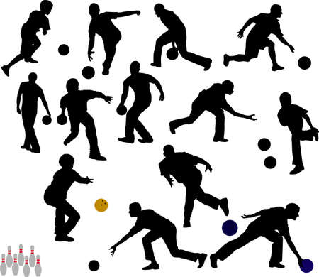 people bowling vector silhouettes