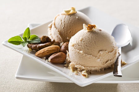 Fresh hazelnut ice cream on plate close up