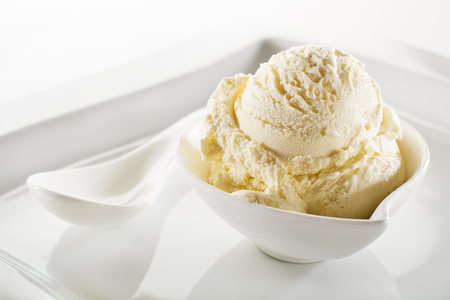 Photo for Fresh fruit sorbet ice cream in a white bowl close up. - Royalty Free Image