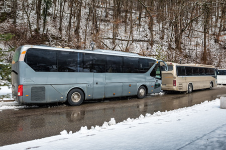 Foto per Intercity buses parked near the mountain forest at winter - Immagine Royalty Free