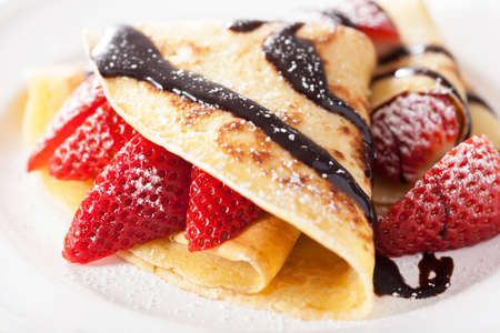 Photo for pancakes with strawberry and chocolate sauce - Royalty Free Image