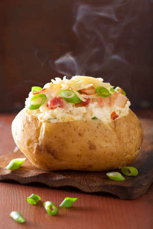 Photo for baked potato in jacket with bacon and cheese - Royalty Free Image