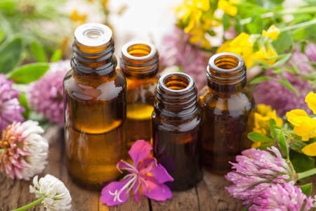 Foto de essential oils and medical flowers herbs - Imagen libre de derechos
