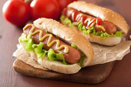 Photo for hot dog with ketchup mustard and lettuce - Royalty Free Image