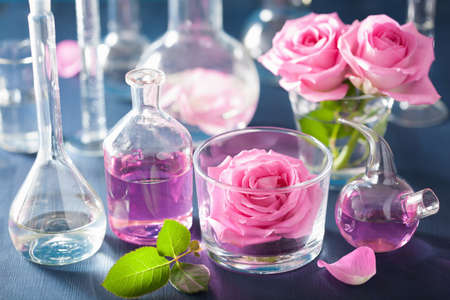Foto de alchemy and aromatherapy set with rose flowers and chemical flasks - Imagen libre de derechos