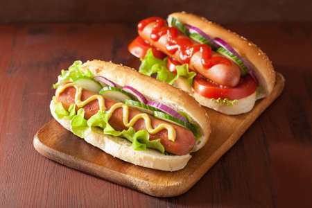Photo for hot dog with ketchup mustard and vegetables - Royalty Free Image