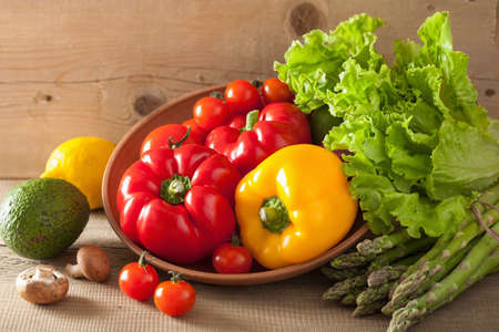 Photo pour vegetables tomato pepper avocado lettuce asparagus - image libre de droit