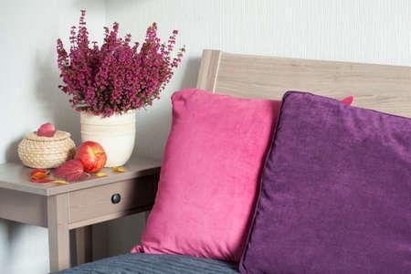 Foto de colorful cushion cozy home bedroom autumn mood flower leaf - Imagen libre de derechos