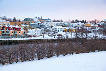 Foto de Winter view of houses in Trondheim city Norway - Imagen libre de derechos