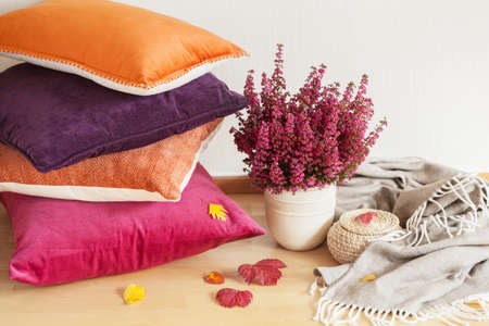 Photo pour colorful cushions throw cozy home autumn mood flower - image libre de droit
