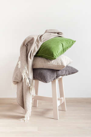 Photo for gray and green cushions cozy home - Royalty Free Image